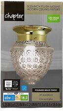 "Chapter 6"" Acorn Indoor Ceiling Flushmount Light w/ LED bulb, Polished Brass"