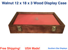 Walnut Wood Display Case 12 x 18 x 3 for Arrowheads Knifes Collectibles & More