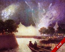 FIREWORKS OVER FRENCH PORT IMPRESSIONIST SEASCAPE PAINTING ART REAL CANVAS PRINT