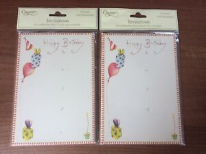 2 X Birthday Invitation Packs, 8 Cards With Envelopes ( 16 In Total)