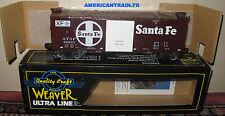 Wagon 40' Box Car Santa Fe Food Loading 3 rails échelle O Weaver