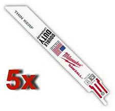 """5 x MILWAUKEE 5182 6"""" 14TPI DOUBLE DUTY THIN KERF RECIPROCATING SAW BLADES"""