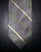 Donna Karan New York DKNY Tie Silk Diagonal Stripe Gray Yellow Green NIB t2274