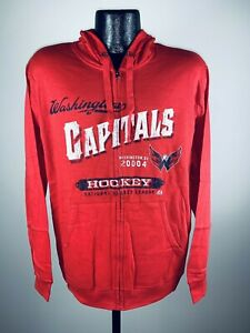 Unisex Adult Majestic Washington Capitals Red Downtowner Full Zip Hoodie NWT S
