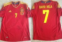 DAVID VILLA SIGNED AUTOGRAPHED SPAIN ADIDAS JERSEY+PROOF AUTO BARCELONA FLAWLESS