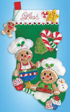 Felt Embroidery Kit ~ Design Works Gingerbread Bakers Christmas Stocking #DW5249