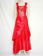 LONG RED STRAP DRESS EVENING PROM BEADS SEQUINS APPLIQUE CHERLONE SIZE 12/14