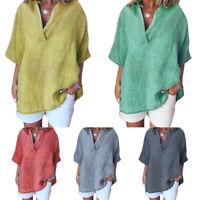 Women Linen V-Neck T-Shirt Short Sleeve Baggy Tunic Tops Casual Blouse Plus Size