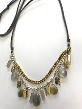 SILPADA Sterling Silver Brass Necklace~Labradorite~ Agate~N3243~Courtyard Chic