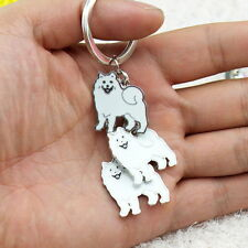 Sammy Samoyed Eskie German Spitz dog inspired petite key ring chain enamel Ameri