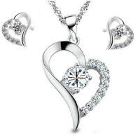 Parure in Argento 925 Placcato Oro Swarovski Elements Originale cuore Cristalli