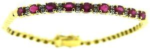 Solid 18kt 18Carat 750 yellow gold oval ruby diamond bracelets vintage