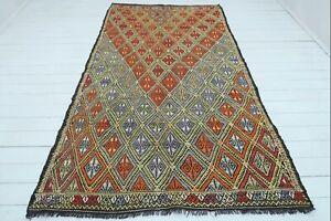 """Turkish Mut Kilim Rug, Kelim, Area Rugs, Diningroom Rug Carpet Teppiche 62""""x106"""""""
