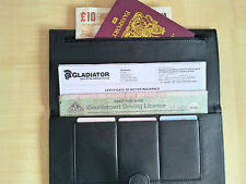 Professional Truck / Coach Drivers Genuine Black Leather Wallet -License Holder