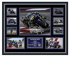 VALENTINO ROSSI 2019 MOVISTAR YAMAHA SIGNED PHOTO MOTOGP FRAMED MEMORABILIA