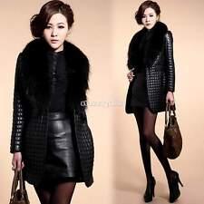 Nero Le donne della pelliccia del Faux giacca di pelle collare lungo cappotto