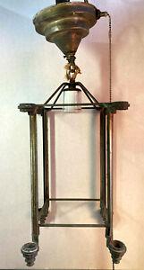 """Antique 1920's Art Deco Lantern Pendant Light 20"""" x  6"""" No Glass Panels"""