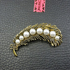 Gold Enamel Pearl Feather Betsey Johnson Charm Woman's Jewelry Brooch Pin