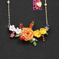Betsey Johnson Enamel Crystal Flower Bird Beetle Pendant Chain Necklace Gift