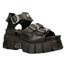 NEW ROCK Unisex Metallic Black 100% Leder Sandale Punk Boots M-BIOS 101-c2