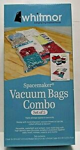 New Whitmor Spacemaker Vacuum Bags Combo Set of 5 Bags 1 Lg, 2 Med, 2 Sm