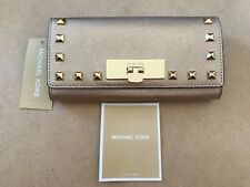 NEW Michael Kors 35H6MS8E3M Callie Stud Pale Gold Carryall Leather Wallet $168