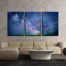 "Wall26 - Starry Night Sky Deep Outer Space - Canvas Wall Art - 24""x36""x3 Panels"