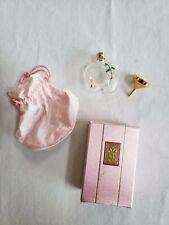 Vtg Le Papillon France Hand-painted Perfume Flacon Gold Funnel Satin Pouch Box