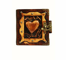 Handmade Real Leather Refillable Journal Brown Diary Notebook Sketch Book Heart