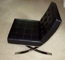 VINTAGE-BARCELONA KNOLL-ROHE- STYLE LOUNGE LEATHER CHAIR-1960S-MID CENTURY