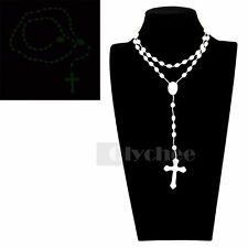 1 pc Glow in Dark Prayer Beads Cord Rosary Necklace Cross Crucifix Pendant New