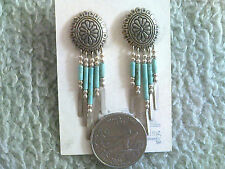 Small Silver Concho Earring w/Turquoise Heishi