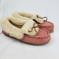 Lands' End Suede Leather Shearling Fur Moccasin Slippers Pink Womens Size 9M