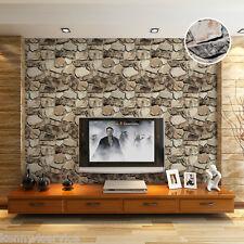 Rock Stone Effect 3D Vintage Vinyl Embossed Rustic Natural Wallpaper Roll 10M