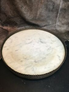 Vintage Marble & Brass Lazy Susan Or Occasional Table. Made In France 1920s-30s