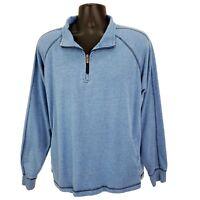 Jimmy Buffet's Margaritaville Men's L Large 1/4 Zip Pullover Sweatshirt Blue