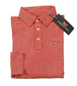 Vineyard Vines Boys Calypso Red Edgartown Stripe Jersey Long Sleeve Polo Shirt