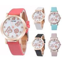 New Womens Wrist Watch Butterfly Clover Crystal Leather Band Quartz Dial Watches