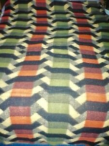 Vintage Retro 60s 70s Geometric Tetem Reversible Blanket Bed Throw VW Camper