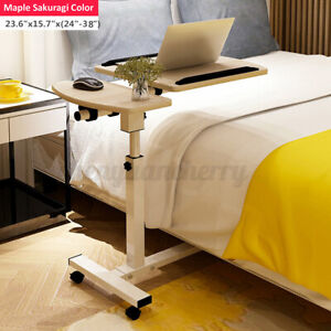 Rolling Height Angle Adjustable Laptop Sofa Desk Overbed Food Tray Table Stand!