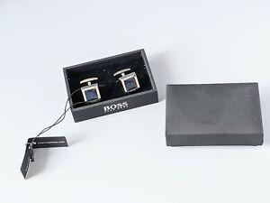 New Tagged Boxed Hugo Boss Men's Cufflinks Silvertone & Blue Enamel