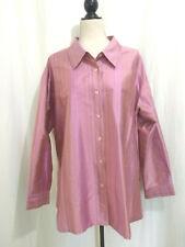 Jessica Holbrook Women's Pink Silk Dupioni Shirt 1XL Dupion Fine Stripes