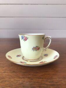Vintage Colclough Porcelain Demitasse Coffee Cup and Saucer Floral Bouquet