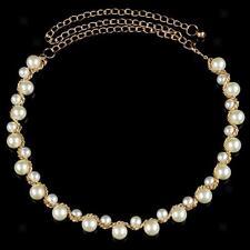 Ladies Pearl Beaded Metal Waist Chain Belt for Women Dress Decoration -Gold