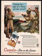 1944 WWII U.S. Army Soldier and JEEP Camel Cigarettes Wartime AD