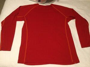 Icebreaker Mens L Solid Red Long Sleeve Merino Wool 200 Skin Shirt Base layer