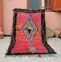 "Vintage Moroccan Handmade Rug Berber Rug 3'8""x6'9"" Bohemian Pink Peach Area Rug"