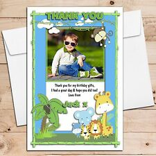 10 Personalised Girls Boys Jungle Animals Birthday Thank You PHOTO Cards N241
