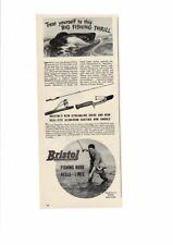 VINTAGE 1946 BRISTOL FISHING RODS REELS LINES BIG FISH LAKE AD PRINT