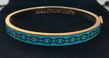 """HALCYON DAYS """"SKINNY CHAIN AQUA AND GOLD"""" BANGLE WITH BLACK VELVET POUCH. UNWORN"""